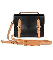 ZLYC Women Vintage Handmade Cowhide Leather Mini Saddle Flapover Shoulder Bag Handbag Satchel, Black