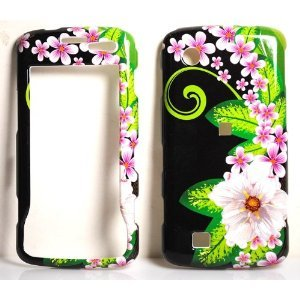Jungle Flower with Pink Sakura on Black Snap on Hard Skin Faceplate Phone Shield Cover Case for Lg Chocolate Touch Vx8575