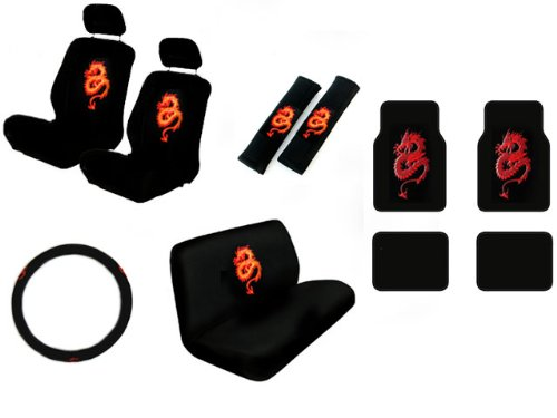 15 Piece Auto Interior Gift Set - Dragon Red - 2 Front Seat Covers (2 Front and 2 Bottom), 2 Headrest Covers, 2 Seat Belt Shoulder Pads, 1 Steering Wheel Cover, 1 Bench Seat Cover (1 Top and 1 Bottom), 4 Floor Mats (2 Front and 2 Rear)