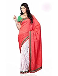 Shariyar Red And White Jacquard And Georgette Saree PRG332