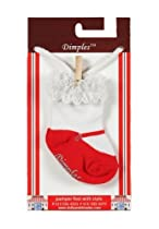 Dimples Mary Jane Socks - Red, 0-12 Months