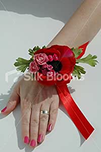 Anemone & Pink Rose Pearl Wrist Corsage w/ Red Ribbon: Home & Kitchen