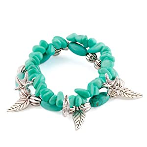Pugster Bling Jewelry Dangle Starfish Leaf Silver Beads Chunky Turquoise Bracelet