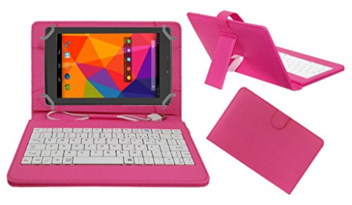 ACM PREMIUM USB KEYBOARD TABLET CASE HOLDER COVER FOR MICROMAX CANVAS TAB P480 With Free MICRO USB OTG - PINK