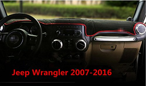 FMtoppeak Meter Mat Dark Mat Modified Dedicated Domestic Dashboard Cover Dash Mat Pad for 2007-2016 Jeep Wrangler with Logo Red (2013 Jeep Dash Cover compare prices)