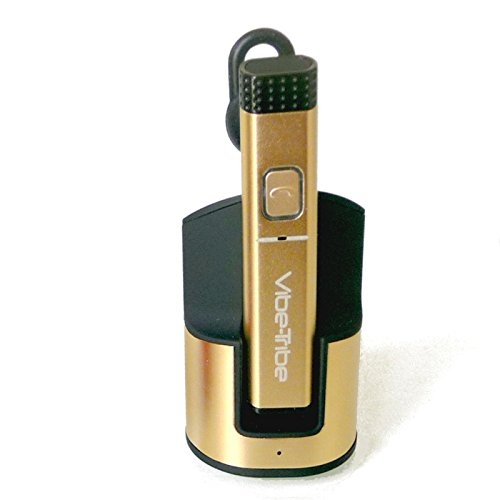 Vibe-Tribe Shiver Gold: Advanced Bluetooth Headset, Multipairing, Docking Station Plug&Charge, Voice Feedback & Push To Talk
