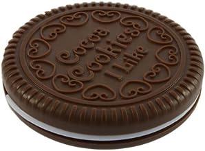 SODIAL(R) Miroir cosmšŠtique portable en forme de biscuit de chocolat mignon + Peigne