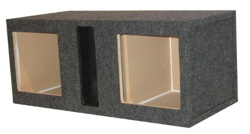 R/T Dual 12-Inch Slot Vented Speaker Box With Square Holes For Kicker L5 Or L7 Subs With Labyrinth Power Port