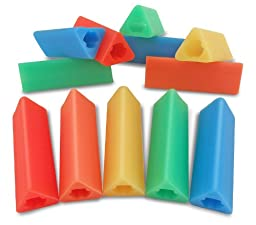 The Classics 12-Pack Triangle Pencil Grips, Assorted Bright Colors, 1.75-Inch Long (TPG-16212)
