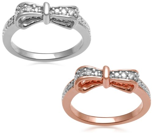 Set of Two 18k Rose Gold Plated and Sterling Silver Diamond Stackable Bow Rings (1/3 Cttw, I-J Color, I3 Clarity), Size 8