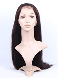 1688 Hair Front Lace Wig 100% Real Human Hair Remy Indian Hairs Handmade Pop Wigs Natural Straight 24 Inch (2# Dark Brown)