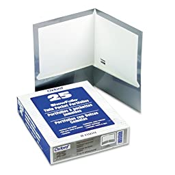 Oxford High Gloss Laminated Paperboard Folder, 100-Sheet Capacity, Gray, 25/Box