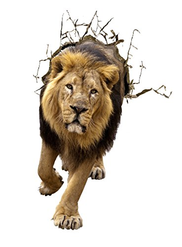 Kobwa(TM) 3D Fashion Creative Lion Paint Wall Sculpture PVC Auto-stick Wall Art Stickers with Kobwa's Keyring
