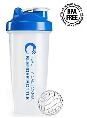 Healthy California Blue Shaker / Blender Bottle ? 28 ounce - Perfect for Protein shakes, Pancakes, Scrambble Eggs & Smoothies! ?? PROMO - Buy 2 $14.99 ??