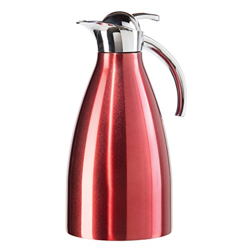 Oggi Allegra ( 2.1 Liter/ 68 Oz. ) Thermal Vacuum Carafe with Press Button Top and Stainless Steel Liner-Red (Thermal Carafe Red compare prices)