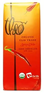 Theo Organic Dark Chocolate with Chile, 3-Ounce (Pack of 12)