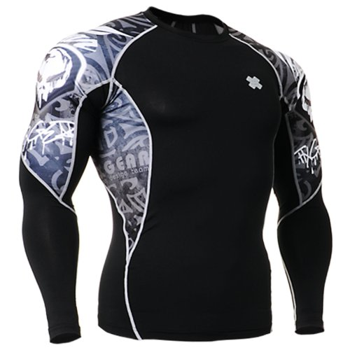 Fixgear Mens Womens Skull Printed Running Compression Shirt Long Sleeve S ~ 2XL