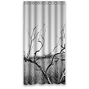 Clear Tree Design Fabric Shower Curtain 36 W X72 H