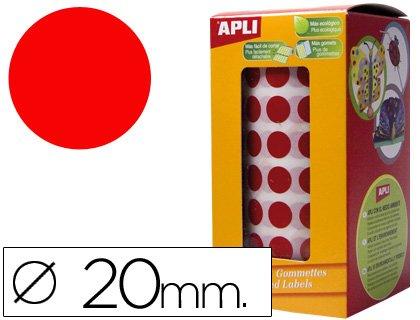 Apli 4861 - Rollo gomets redondos 20.0, color rojo