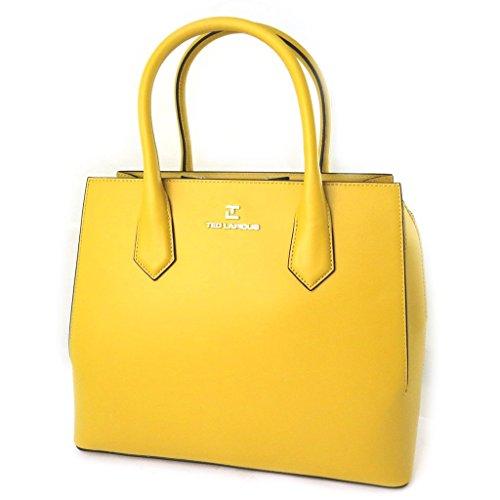 Borsa in pelle 'Ted Lapidus'di colore giallo.