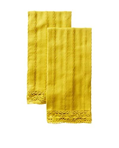 April Cornell Set of 2 Your Guest Tea Towels, Gold