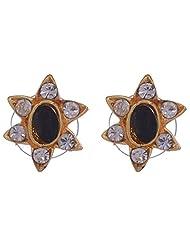 Shining Jewel Brass Stud Earring For Women (Multi-Colour)