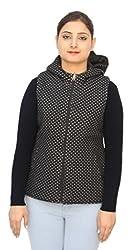 Romano Classy Black Hooded Reversible Sleeveless Warm Winter Jacket for Women