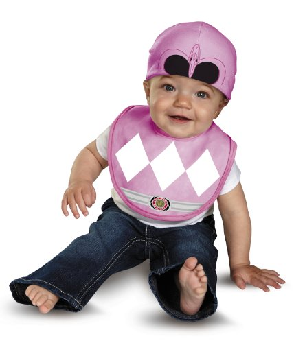 Disguise Baby Saban Power Rangers Mighty Morphin Pink Ranger Infant Bib and Hat Costume, Pink, 0-12 Mths
