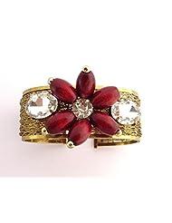 The Jewelbox Designer Free Size Brass Cuff Kada Bangle Bracelet Floral Stones