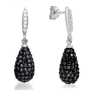 Sterling Silver Dangle Earrings with Black and White Swarovski Crystals