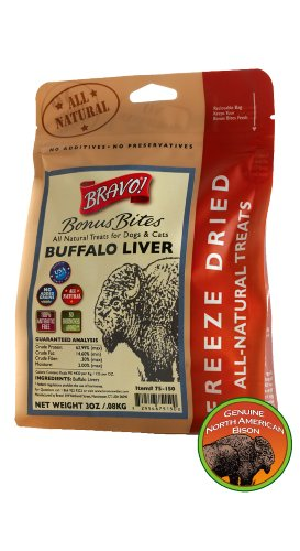 Bravo Bonus Bites Freeze Dried Buffalo Livers, 3-Ounce