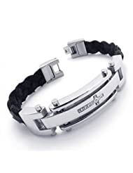 Konov Jewellery Men's Leather Stainless Steel Cross Bracelet, Colour Black Silver, Length 8 2/3 inch (with Gift...