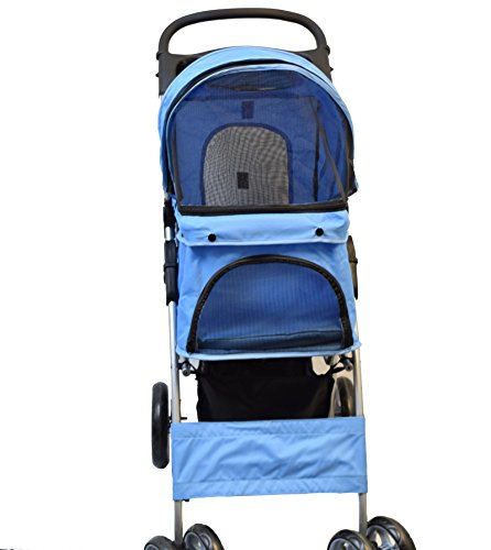 VIVO Four Wheel Pet Stroller, for Cat, Dog and More, Foldable Carrier Strolling Cart, Multiple Colors (Blue)