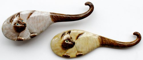 Cat Themed Hair Brush & Mirror Set For Children - Siamese