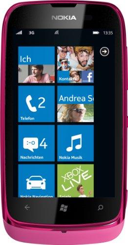 Nokia Lumia 610 Smartphone (9,4 cm (3,7 Zoll) Touchscreen, 5 Megapixel Kamera, Windows Phone Mango OS) fuchsia