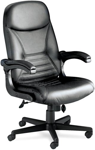 Tiffany Industries 6446AGBLT Big & Tall Executive Chair With Upholstered Arms, Black Leather