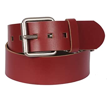 """Men's 2"""" Genuine Leather Belt with Fashion Metal Buckle By Gary Majdell Sport Red 30"""