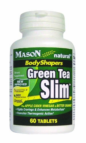 Mason Vitamins Green Tea Slim With Advantra Z , Egcg And Chromax, Tablets, 60 Count