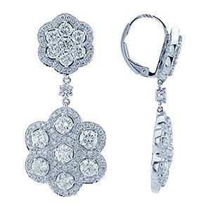 Brilliant Diamond Flower Earrings In 18K White Gold
