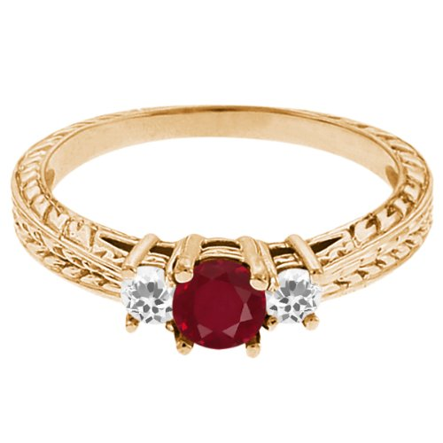 0.58 Ct Round Red Ruby White Topaz 18K Yellow Gold 3-Stone Ring