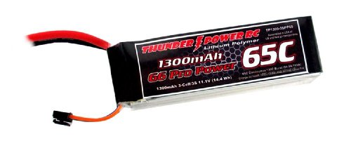 Thunder Power RC 1300mAh 3-Cell/3S 11.1V G6 Pro Power 65C LiPo Battery