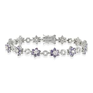 Pretty! Sterling Silver Simulated Amethyst Cubic Zirconia Flower and Simulated CZ Bracelet