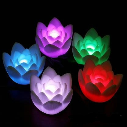 3 Pieces Romantic Battery-Operated Changing Multi Color Small Lotus Led Lamp Flower Candle Night Light With Button Battery