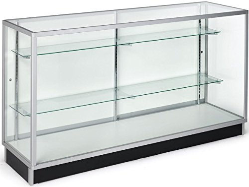 Free-Standing Glass Display Case, 70 x 38 x 20-Inch, Tempered Glass And Clear Coat Aluminum Frame, For Retail Use (Display Case 70 compare prices)