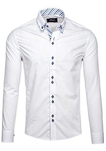BOLF Langarm Herrenhemd Hemd Slim Fit Freizeit Classic 6910 Weiß M [2B2]