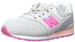 New Balance KL574 State Fair Running Shoe (Infant/Toddler), Grey/Pink, 2 M US Infant