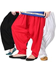 Pistaa Combo Of Women Cotton Black, Red And White Patiala Salwar Pant
