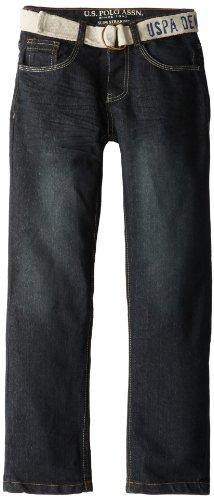 U.S. Polo Assn. Big Boys' Belted Flap Back Pocket Denim Jeans, Vision Wash, 16