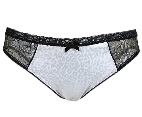 """DOLCE & GABBANA D&G """"Vamp Animal 1O"""" Damen Slip Leopard Muster mit Spitze Satin (Silber/Schwarz) günstig kaufen"""