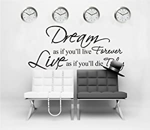 OneHouse Dream As If You'll Live Forever Vinyl Wall Decals Quotes Sayings Words Art Inspirational D¨¦cor from OneHouse